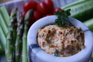 Hot crab dip with vegetables.