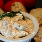 Imittion crab dip served with a bagette